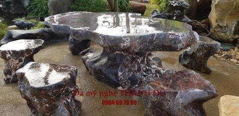bàn ghế đá cẩm thạch tự nhiên
