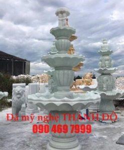 Đài phun nước 3 tầng đá trắng xanh