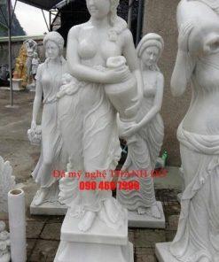 Tượng Cô Gái cầm bình đá trắng