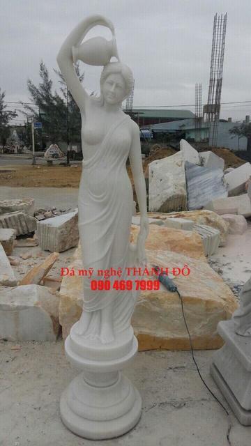 Tượng Cô gái đá trắng cẩm thạch