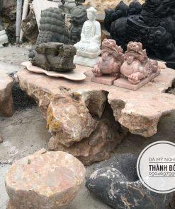Bộ bàn ghế đá hồng tự nhiên