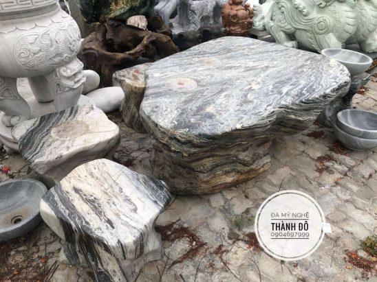 Bộ bàn ghế đá tuyết sơn vân tự nhiên