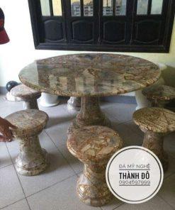 Bộ bàn ghế tròn đá tự nhiên