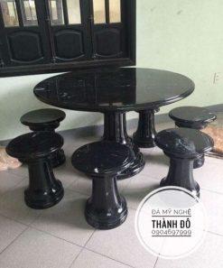 Bộ bàn tròn đá đen tự nhiên