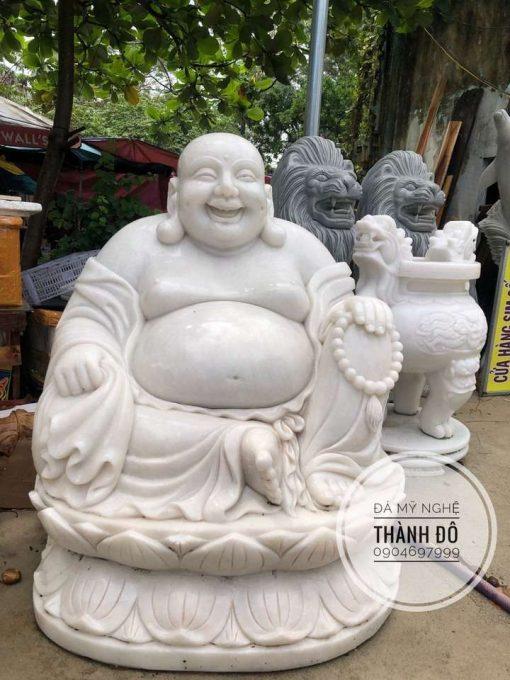 Tượng Phật Di Lặc cao 1m đá trắng