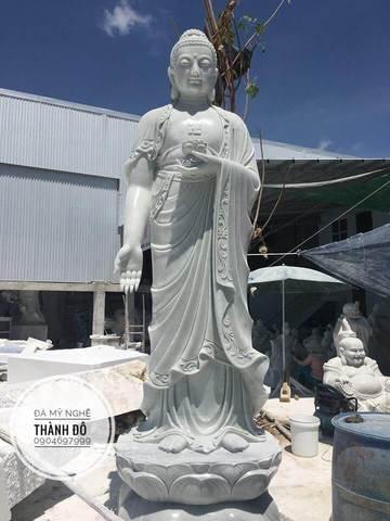 Tượng Phật A Di Đà đứng đẹp bằng đá cẩm thạch