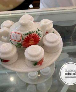 Bộ ấm trà bằng đá trắng