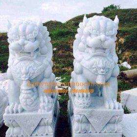 Tượng Kỳ Lân đá cẩm thạch trắng xanh