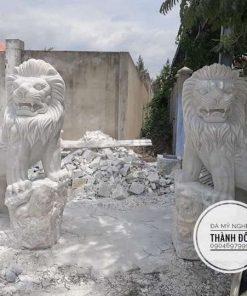 Tượng sư tử đá cẩm thạch trắng