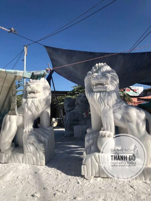 Tượng sư tử đá trắng 2m