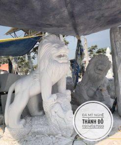 Tượng sư tử đá trắng tự nhiên 2m