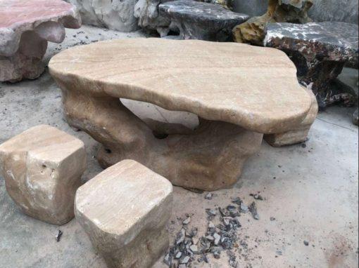 Bàn ghế đá vân gỗ nguyên khối
