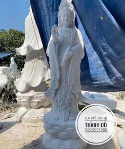 Tượng Phật Bà Quan Âm đá tự nhiên 1.5m