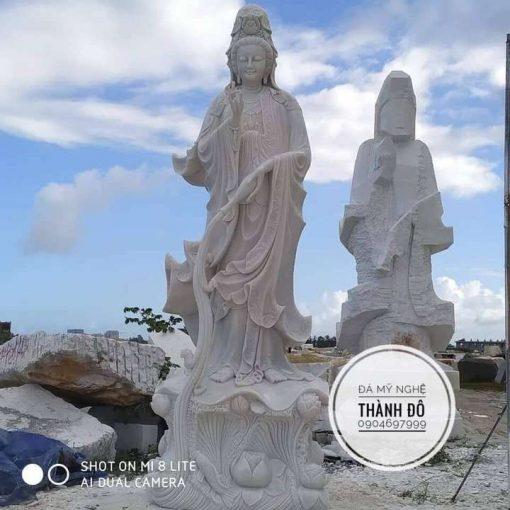 Tượng Phật Quan Âm bằng đá tự nhiên nguyên khối 7m