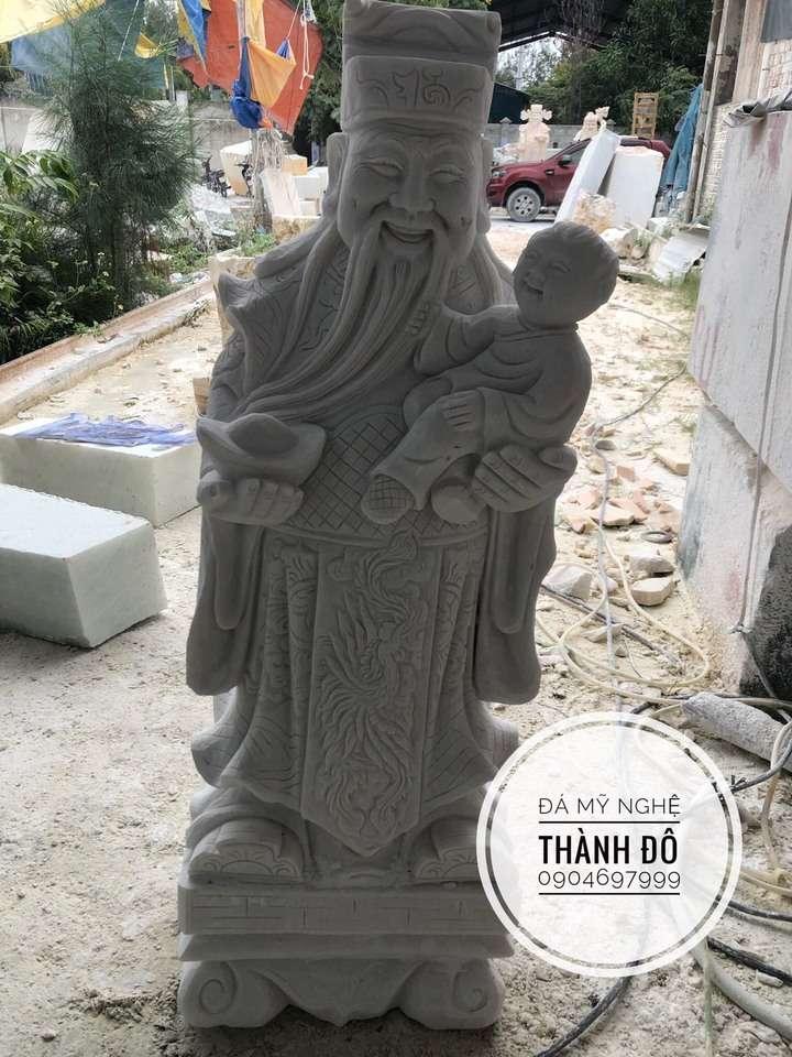 Tượng Phúc Lộc Thọ đá trắng 1m