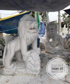 Tượng sư tử đá trắng 1.5m