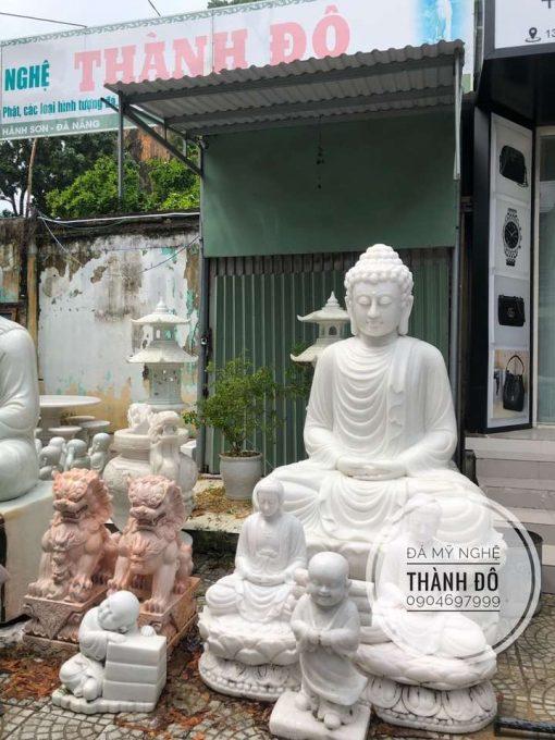Tượng Phật Thích Ca đá trắng 2m