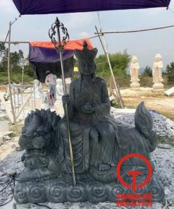 Tượng Địa Tạng Bồ Tát cưỡi Đề Thính đá xám