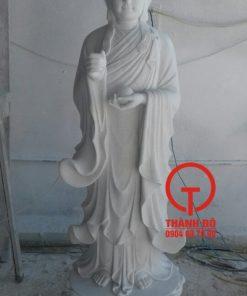 Tượng Địa Tạng Vương Bồ Tát đá cẩm thạch trắng