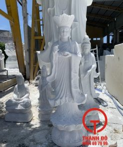 Tượng Địa Tạng bằng đá trắng 1.6m