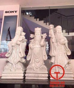 Tượng Phúc Lộc Thọ bằng đá cẩm thạch trắng
