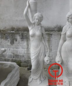 Tượng cô gái vác lu đá cẩm thạch